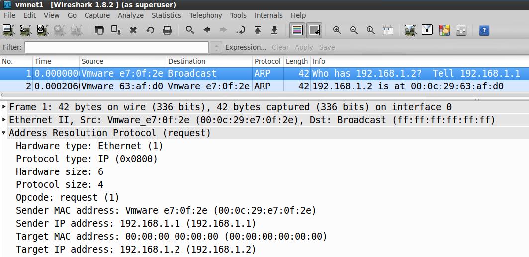 طلب ARP Wireshark