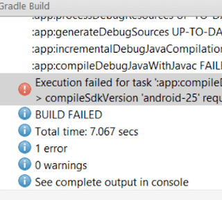 Resolvido - Error:Execution failed for task ':app:compileDebugJavaWithJavac'. > compileSdkVersion 'android-25' requires JDK 1.8 or later to compile.