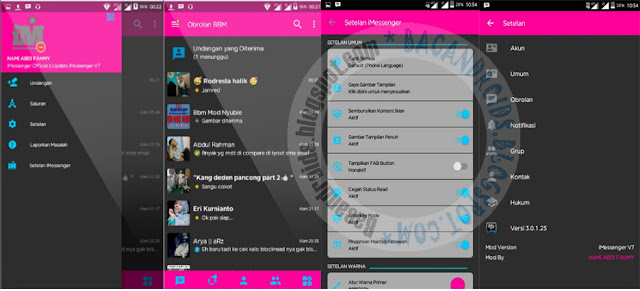 Download BBM Mod iMessenger v7 dark theme base versi 3.0.1.25 Apk Terbaru For Android