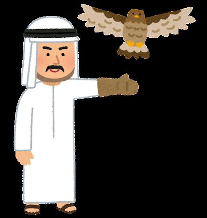 鷹狩をするアラブの人のイラスト