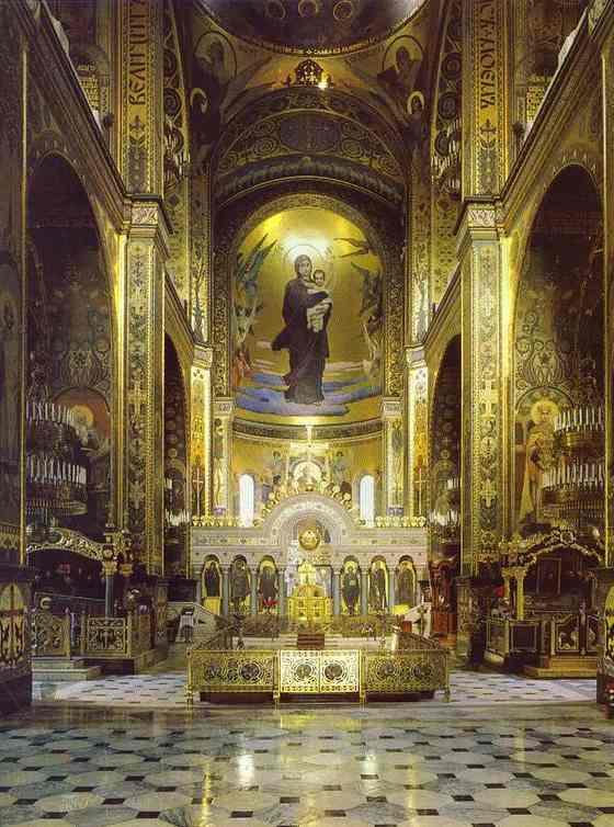 Viktor Mikhajlovitsj Vasnetsov (1848-1926): Guds Mor med Jesusbarnet (1887), freskomaleri i apsis i katedralen St. Vladimir i Kyiv i Ukraina