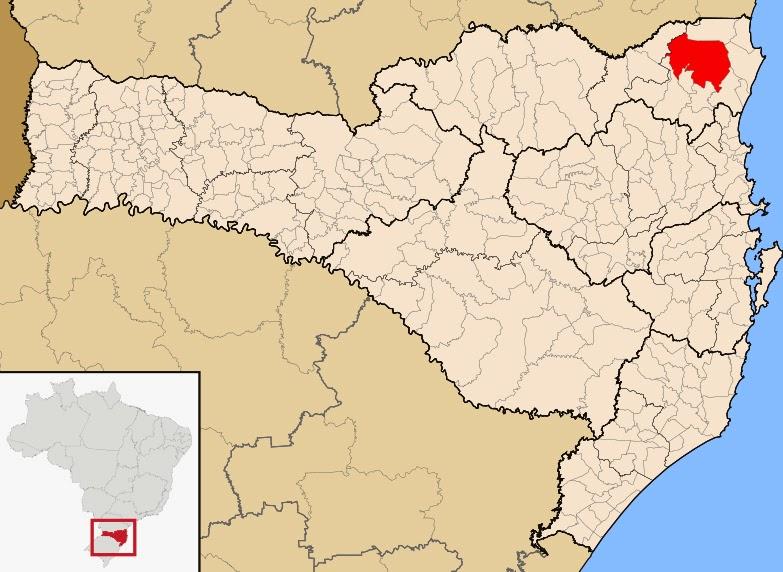 Cidade de Joinville, no mapa de Santa Catarina