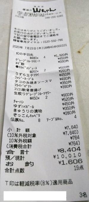 世界の山ちゃん 川口店 2020/7/23 飲食のレシート