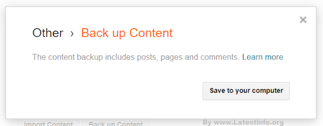 Back up Content on Blogger posts
