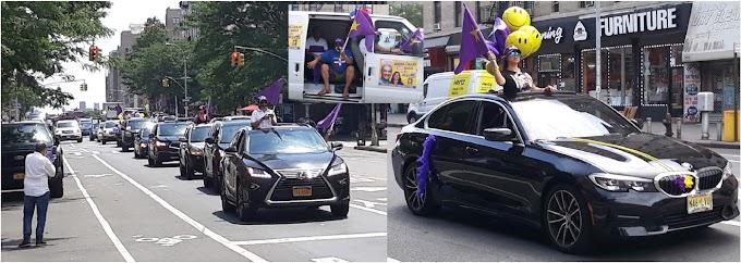Peledeístas dan demostración de fuerza vehicular en larga caravana para cierre de campaña