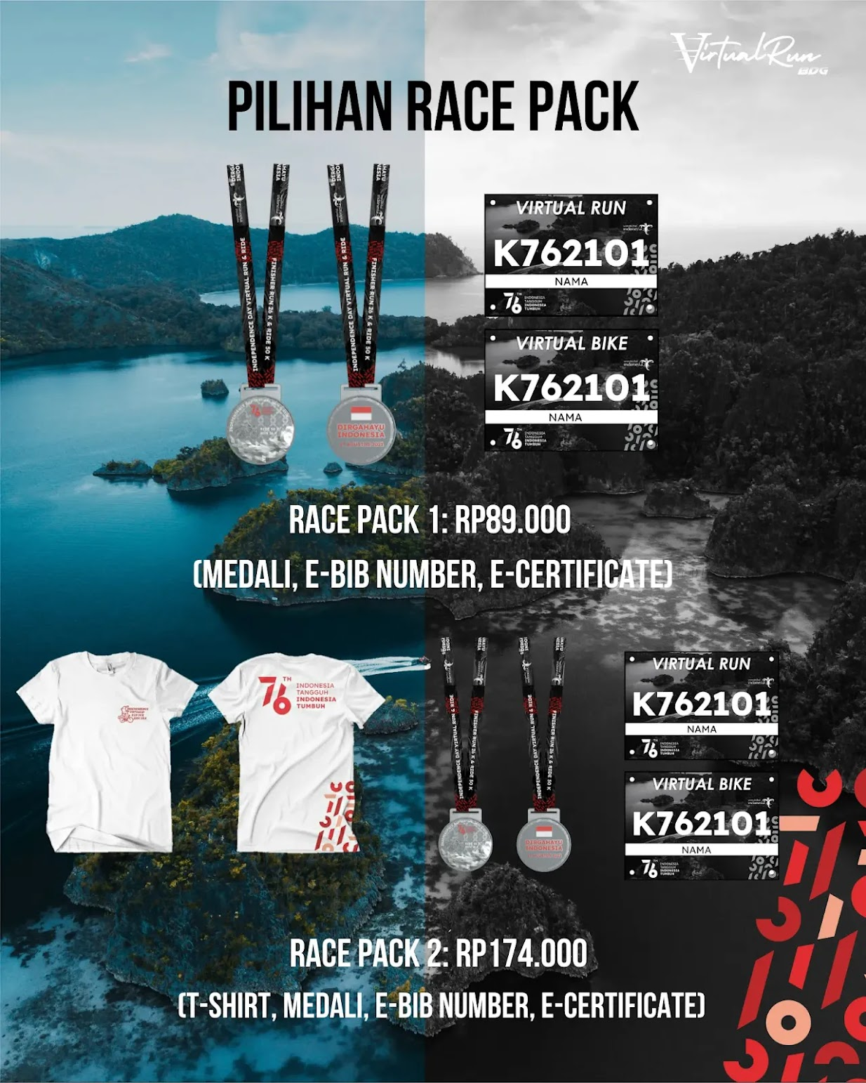 Racepack Virtual Run & Ride Indonesia's Independence Day • 2021