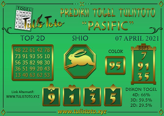 Prediksi Togel PASIFIC TULISTOTO 07 APRIL 2021