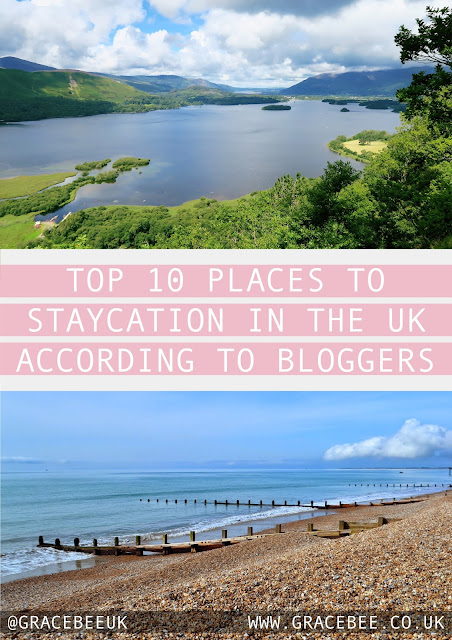 "The top image shows Derwent water in the Lake District UK. The bottom image shows Brighton beach sloping into the sea. Text between the images reads ""The top 10 places to staycation in the UK according to bloggers"""