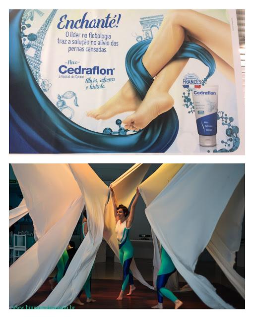 Show de lançamento de produto da servier do brasil inspirado na suavidade e femineidade do tecido acrobatico.