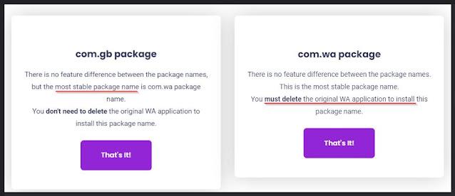 perbedaan package name com_wa (unclone) dan dom_gb (clone)