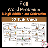 Fall 3 Digit Addition and Subtraction Word Problems