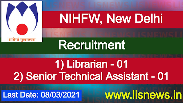 Librarian and Senior Technical Assistant (Documentation) at NIHFW
