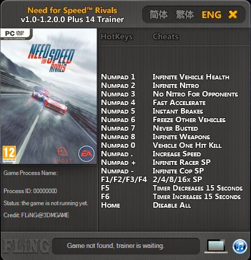 Need for speed ~ rivals: трейнер/trainer (+7) [1. 2: 32 bit.