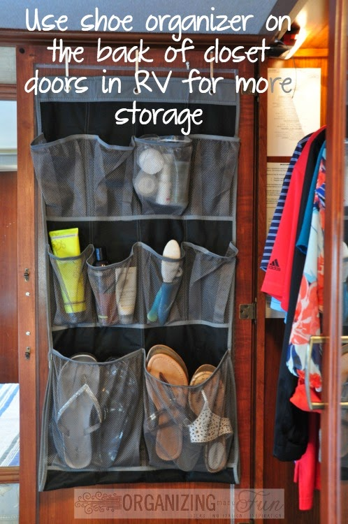 Use a shoe organizer on the back of closet doors in a small space or RV to maximize space :: OrganizingMadeFun.com