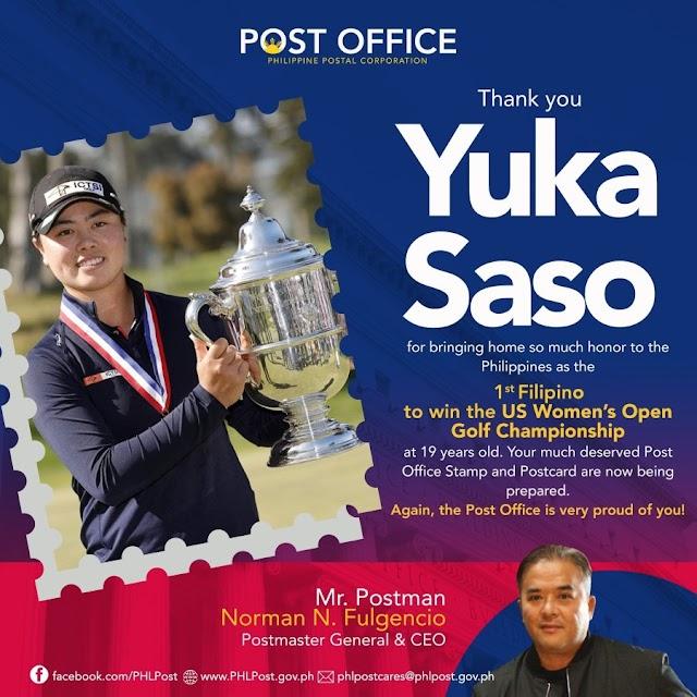 Filipina U.S. Women's Open Golf champion Yuka Saso honored with special stamp