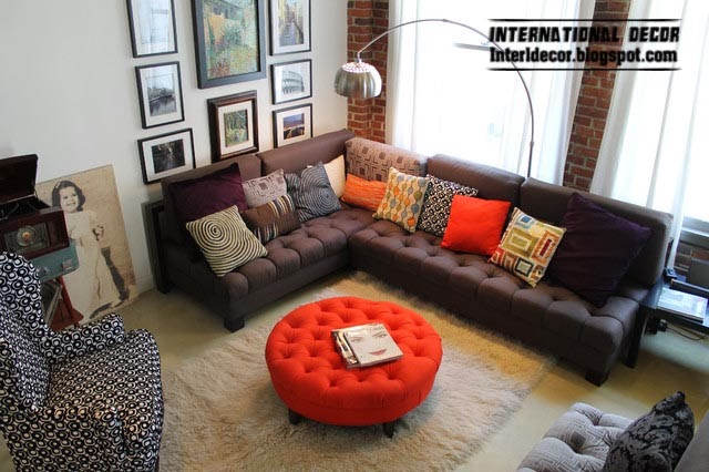 red ottoman and brown corner sofa for modern living room