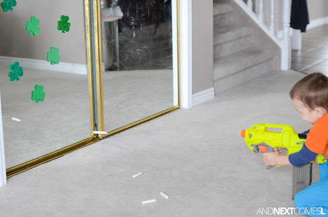 St. Patrick's Day activity for kids using Nerf guns from And Next Comes L