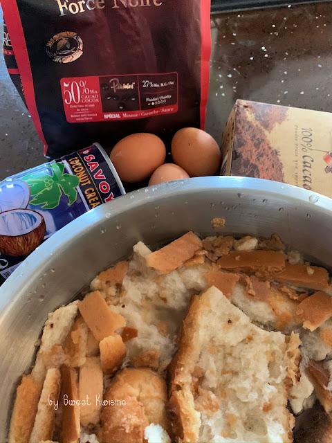 sweet kwisine, pudding, pain, anti-gaspillage, chocolat, cacao, lait de coco, sans lactose,recette facile, recette économique, martinique,