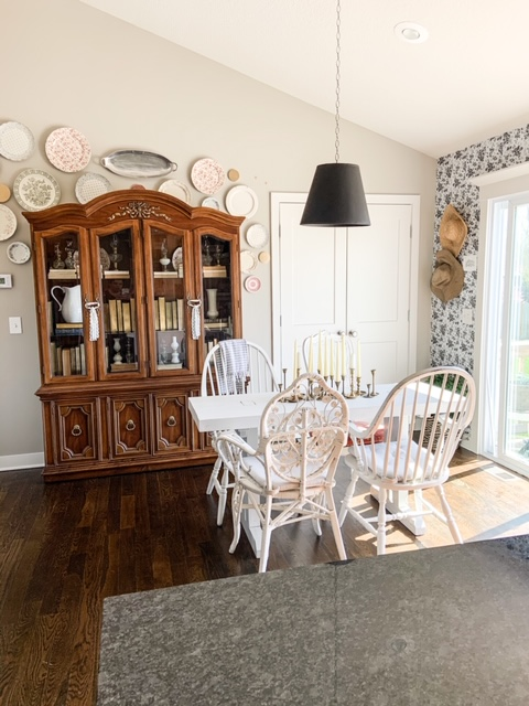 China cabinet in dining room for decor