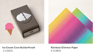 Stampin'Up Ice Cream Cone Builder Punch and Rainbow Glimmer Paper