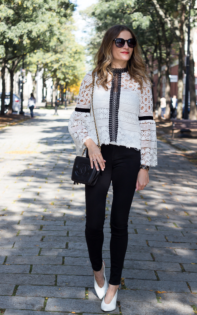 Black and White Crochet Top