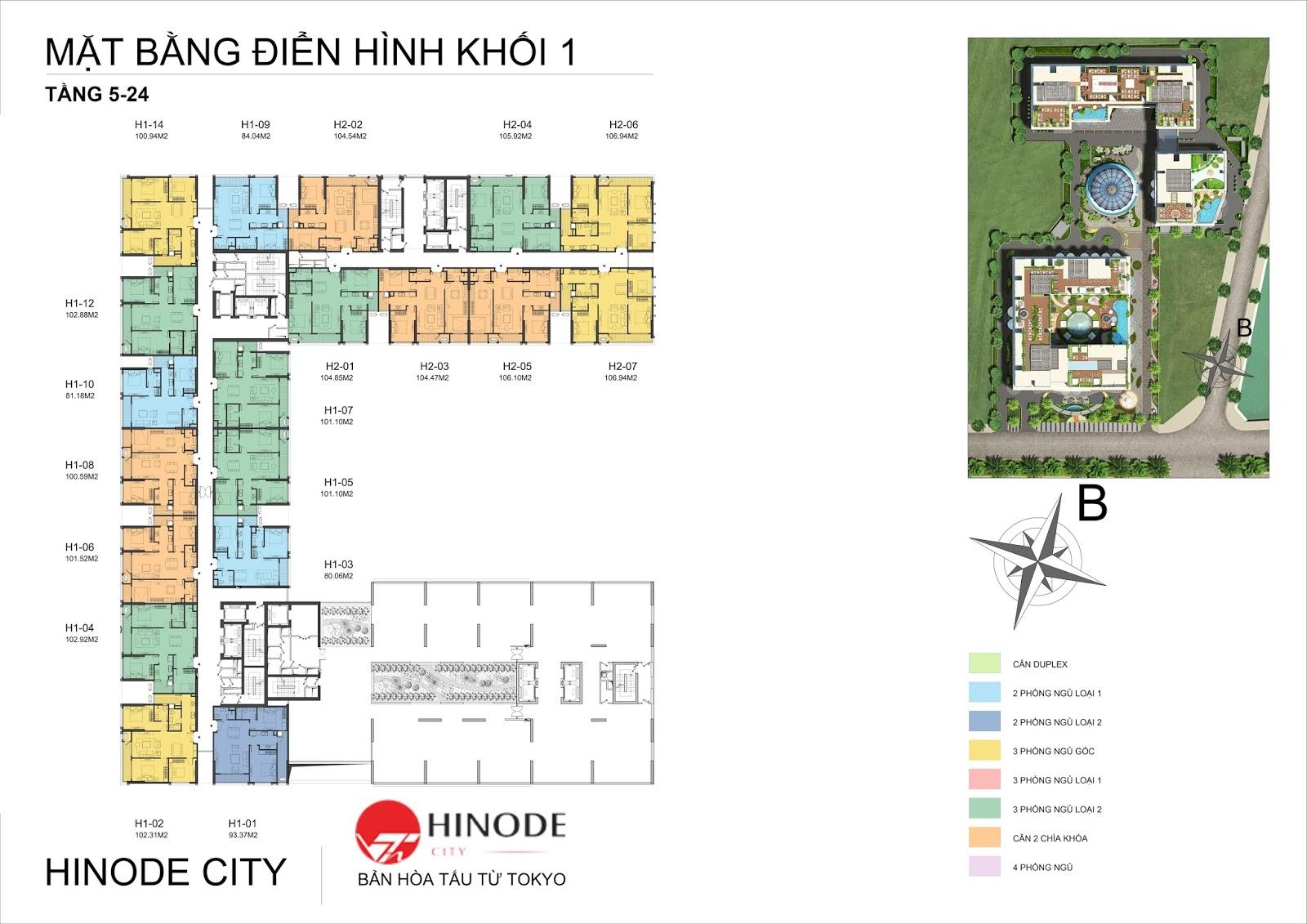 Mặt bằng điển hình toà T1 dự án Hinode City