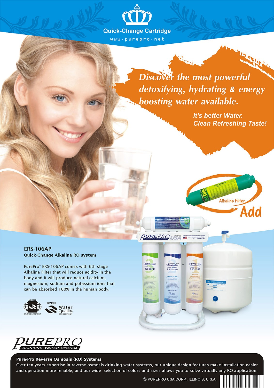 PurePro® ERS-106AP Alkaline Reverse Osmosis Water Filtration System