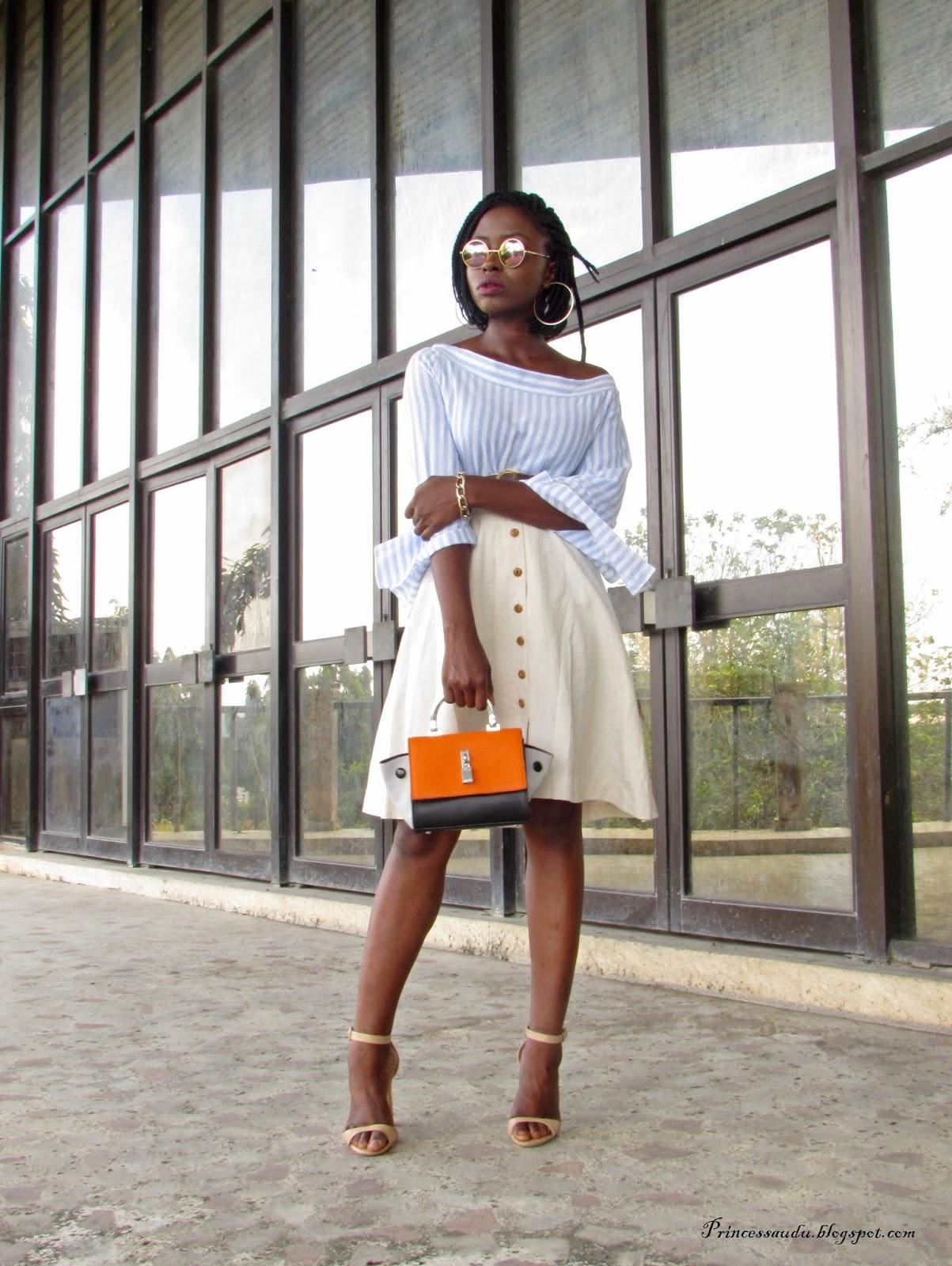 Trend, stripes, skater skirt, vintage