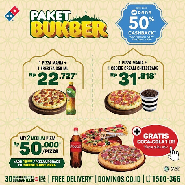 #Dominos - #Promo PAKET BUKBER Ramadhan & Cashback 50% Pakai DANA