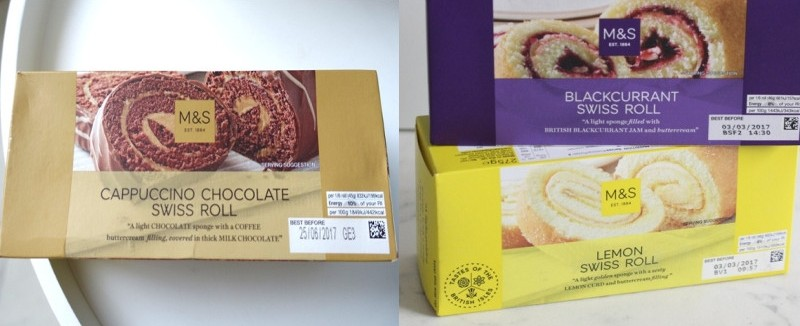 Marks and Spencer swiss rolls cappuccino lemon blackcurrant packaging