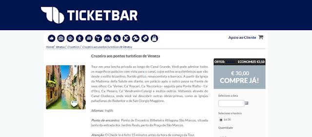 Ticketbar para ingressos para cruzeiro aos pontos turísticos de Veneza