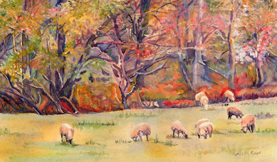 Watercolor painting of sheep grazing in a field by woods in Autumn
