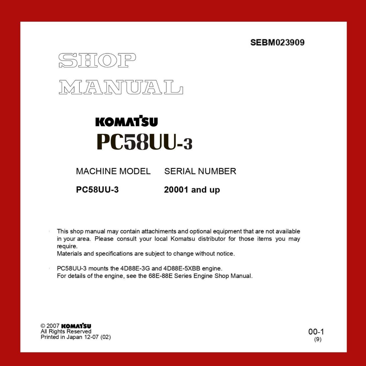 Komatsu shop manual pc58UU-3 excavator
