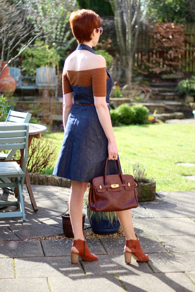 Fake Fabulous | Restyle your mistakes | Denim halterneck dress and tan.