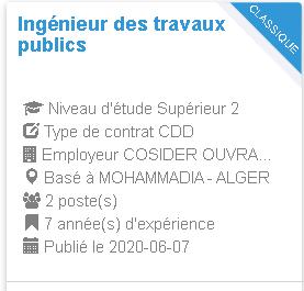 Ingénieur des travaux publics MOHAMMADIA - ALGER