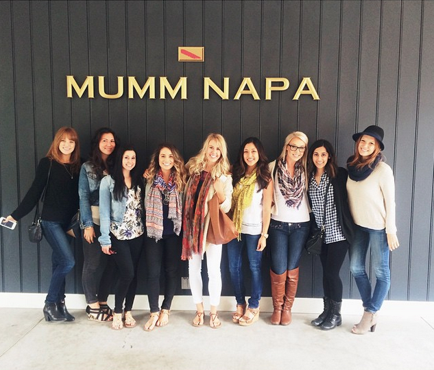 Bride-to-be and her girlfriends at Mumm Napa in Northern California