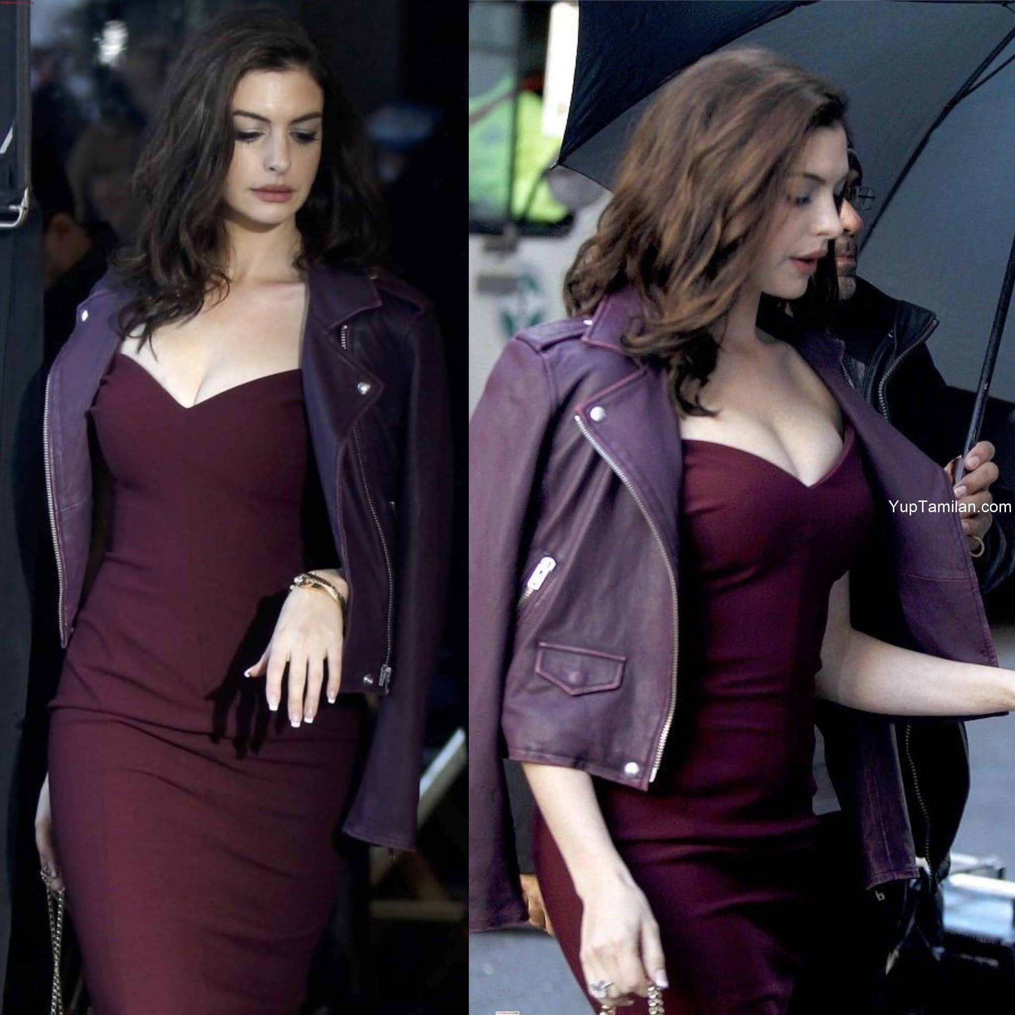 Anne Hathaway Hot and Sexy Cleavage Photos