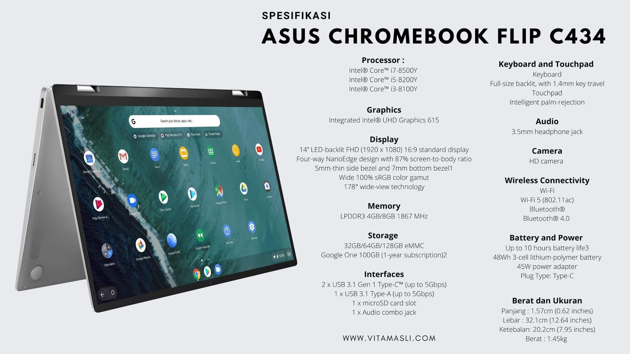 Spesifikasi Asus Chromebook C434