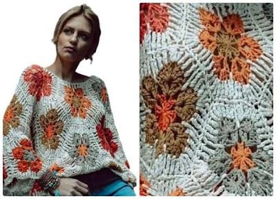 Jersey crochet tejido con flores africanas