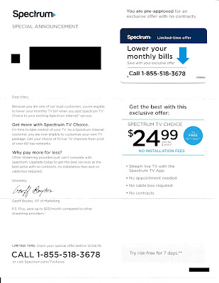 Spectrum Cable Front of Upsell Letter