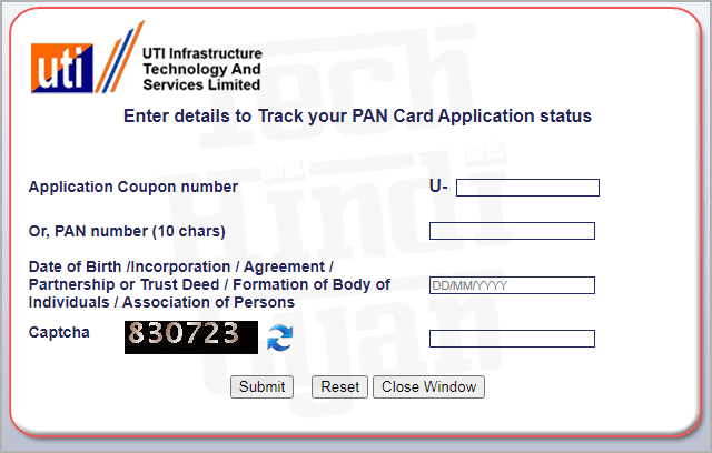 track pan card application status online from UTI portal