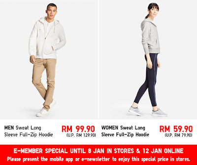 Uniqlo Malaysia Sweat Full Zip Long Sleeve Hoodie Discount Offer