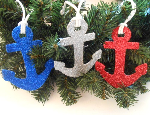 Anchor Ornaments with Glitter
