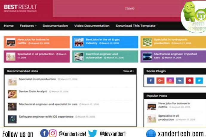 Download Best Result Blogger Template Premium Version 2021
