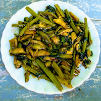 The stems of Malabar spinach is soft and hence used as a vegetable together with its leaves.