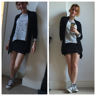 All Saints mini skirt with Zara top