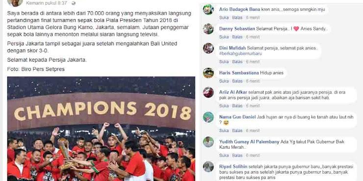 Posting Kemenangan Persija, FB Presiden Jokowi Malah Dibanjiri Ucapan Simpatik untuk Anies