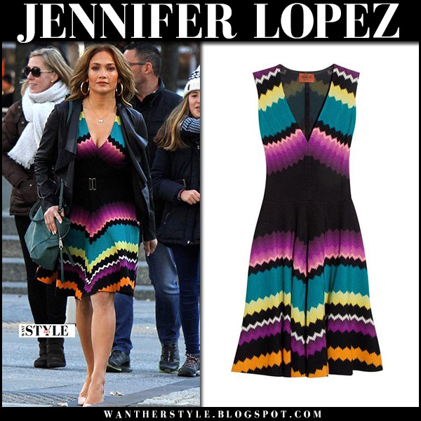 Jennifer Lopez in purple multicoloured striped dress missoni on the set of Second Act fall fashion november 28