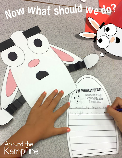Back to school activities for the first day with the most perfect book ever, You're Finally Here! We made this character craft to set goals for the year! My kids were in heaven!