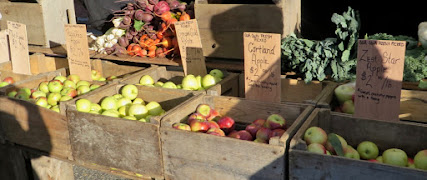 Bins of apples in the sun, some in shadow, with stacks of vegetables on a shelf in back of the apples